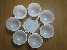 ALL 8 INCH CHAKRA TUNED SET OF 7 FROSTED QUARTZ CRYSTAL SINGING BOWL