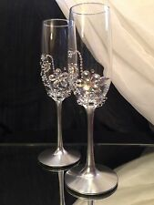 Toasting Flutes, Rhinestone Crystal, Silver, Wedding Champagne Glasses Set of 2