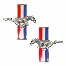 (2) Mustang Running Horse Chrome Pony Tri Bar Emblems Side Fender Badge