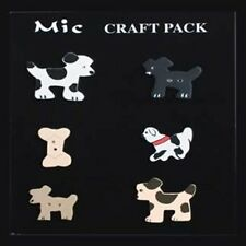 MIC Pack of 5 Cute Assorted Wooden Dogs + 1 Bone Toppers Scrapbooks Card Making