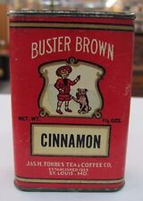 Vintage BUSTER BROWN Spice Tin Cinnamon FORBES St. Louis Cardboard Paper WOW!
