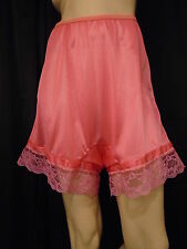 Women's Hot Pink Lace Nylon Panty Pettipants Bloomers SZ 9 Waist 28-38 Length 17