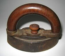 Antique Child's SAD IRON Bent Wood Handle 19th CENTURY Cast Iron
