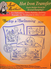 "Aunt Martha's Hot Iron On Transfer # 3839 "" Swans-a-Swimming """