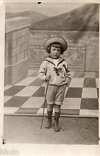 BJ280 Carte Photo vintage card RPPC Enfant mode fashion décor trompe l'oeil dame