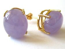 New Natural 14k Solid Yellow Gold Y/G Lavender Jade, Earrings, Oval, Studs