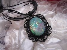 BLUE AQUA  WICCA BOHO CHAKRA ZEN BLACK SETTING OPAL  MOONSTONE RAINBOW NECKLACE
