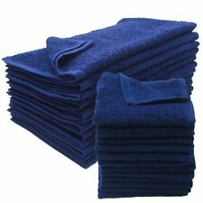 12 NEW NAVY BLUE SALON GYM SPA TOWELS RINGSPUN HAND TOWELS 16X27 2.9 LB