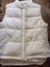 ladies LARGE J. CREW WHITE IVORY WINTER SKI VEST coat MODERN thick JACKET clean