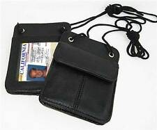BLACK Genuine Leather ID Card Badge Holder/Neck Strap/Pouch/Passport Card Nice