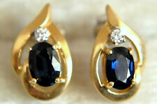 14K Solid Yellow Gold, Topaz and Diamond Earrings 2.46 grams