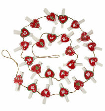 Christmas 24 Advent String Calendar with Heart Pegs Holds Christmas Bags/Sweets