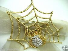 Halloween Spider Net and Spider Swarovski Element Austrian Crystal  Brooch Pin