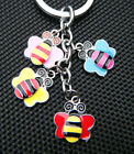 4 PIECE METAL CUTE CARTOON COLOURFUL BUMBLE BEES KEYRING COLLECTABLE CHARM GIFT