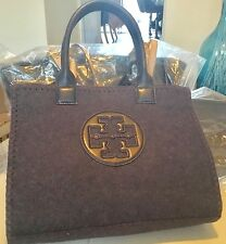 Tory Burch Navy Flannel/Leather Tote Handbag (Ella)