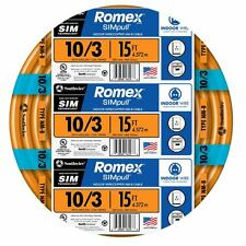 15-Ft Roll 10-3 AWG NM-B Gauge Indoor Electrical Copper-Wire Ground Romex Cable