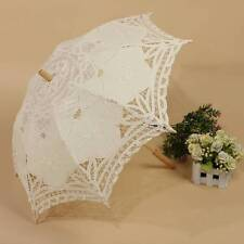 Wood Handle Lady Vintage Handmade Cotton Parasol Lace Umbrella For Wedding CA