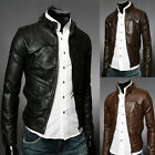 New Men's Slim Fit PU Leather Motorcycle Overcoat Leather Coat Jackets