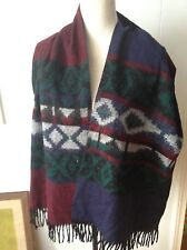 Aztec Southwestern Indian Patterned Fuzzy Scarf Forum Navy Dark Red Green Gray