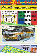 DECAL 1/43 AUDI QUATTRO A2 MICHELLE MOUTON SWEDISH R. 1984 2nd (02)