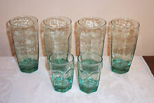 6 Textured Panel Green Glass Tumblers 4-Highball 2-Juice Unknown Maker