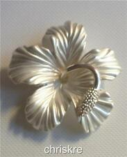 Silver Hibiscus Flower Pin Brooch Beach Bridal Wedding Hawaiian Hawaii USASeller