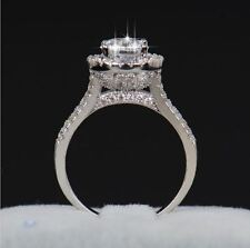 925 sterling Silver Crystal Zircon  fake engagement wedding ring  size 6 7 8 9 5