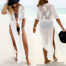 US Women Summer Lace Floral Bathing Swimwear Bikini Cover Up Beach Long Dress