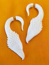 Eagle Fake Gauge Earrings White Cow Horn Split Plugs Illusion Jewelry Wholesale