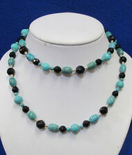 Beaded Necklace Black Onyx Turquoise Faceted Beads & .925 Sterling Silver Beads