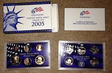 2005 US Mint Proof Coin Set With State Quarters GEM BU!! 11 Coins