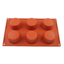 6 Cavity Round Silicone Cake Baking Mold Soap Mould Muffin Biscuit Chocolate Pan