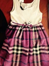 NEW $185 Burberry Girls Check Print Cotton Dress Gift, Size 3Y/98cm