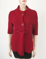 Vince Sweater Wool Cashmere Dark Red Belted Mock Neck XS 8083 TR