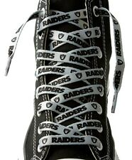 """OAKLAND RAIDERS SILVER TEAM SHOE LACES 54"""" *LACEUPS* GAME DAY PARTY NFL FOOTBALL"""