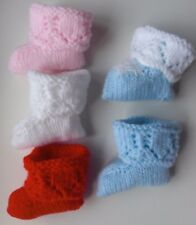 Baby booties hand knitted with ribbons, Choice of colours lace tops Brand New