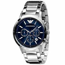 Emporio Armani AR2448 Classic Blue Chrono Stainless Steel Mens Watch Nuevo