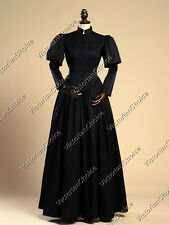 Edwardian Victorian Period Black Steampunk Maiden Dress Women Costume V 006 XXL