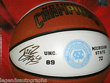 TYLER HANSBROUGH Signed UNC 2009 Champs F/S Basketball Auto North Carolina