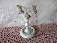 HEREND Hand Painted PERSIL Green Parsley & Vines 2pc DOUBLE CANDLESTICKS Hungary