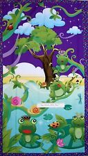 "Kids Fabric - Before the Kiss Frog Prince Wallhanging Purple - Avlyn 23"" Panel"