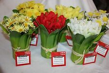"Mixed Lot of 21 Ashland 7"" Artificial Floral Centerpieces Tulips Daffodils Daisy"