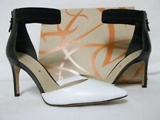 Via Spiga Size 8.5 M Ife Black White Leather Ankle Strap Heels New Womens Shoes