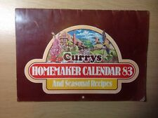 CURRYS ELECTRICAL HOMEMAKER CALENDAR AND RECIPES 1983