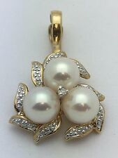 New 14K Yellow Gold Flower Shape Charm Pendant with Fresh Water Pearl & Diamonds