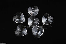 12pcs Clear Glass Crystal Heart-Shaped Beads Spacer Jewelry Findings 14mm Charms