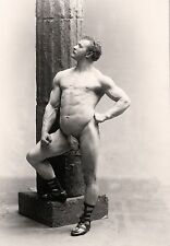 """Nude muscular man poses, antique photography, Falk, 1894 Photo,  16""""x11"""""""