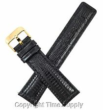 22 mm BLACK LEATHER WATCH BAND LIZARD GRAIN WITH SPRING BAR GOLD TONE BUCKLE