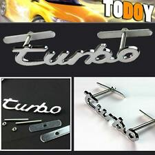 Silver Turbo Logo Front Grille Emblem Badge For Audi Buick hyundai BMW Volkswage