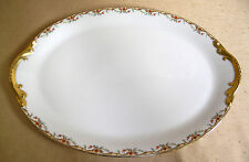 "Antique Vignaud Limoges The Meuse c:1920's 14"" Oval Meat Platter Red/Yellow/Gold"